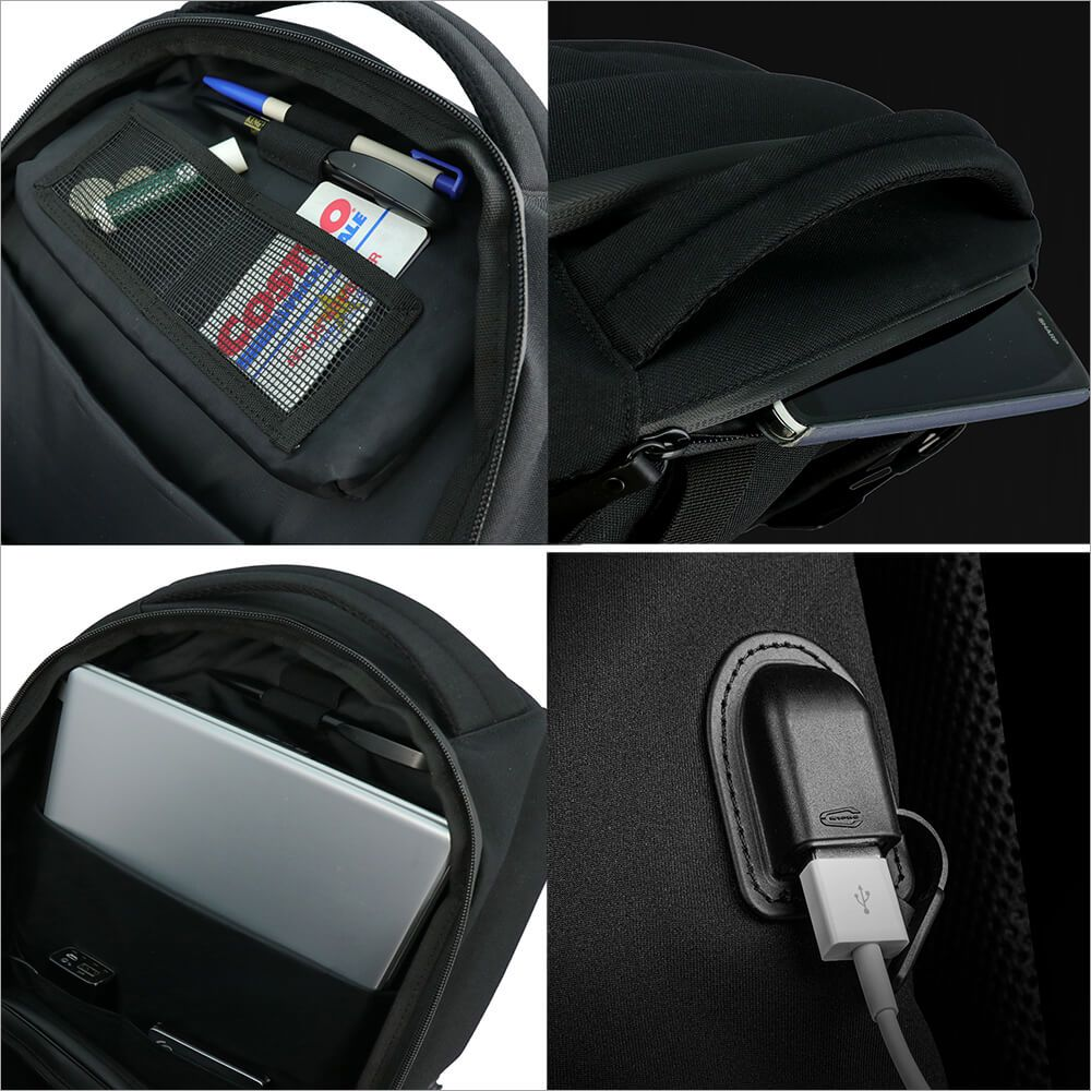 15.6-inch laptop backpack with waterproof zippers