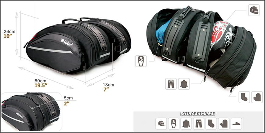 Saddlebags with expandable volume