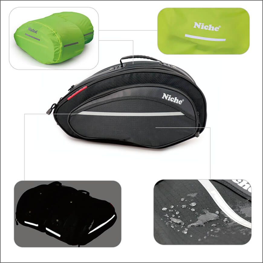 Solid construction and waterproof Motorcycle Saddlebags with reflective safety