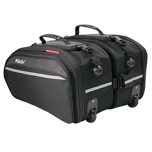 Седельные сумки с колесом большого размера и тележкой для мотоцикла с универсальной системой крепления, расширяемой и водонепроницаемым дождевиком в комплекте (размер XL)