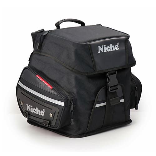 Bagpose med rulletop og betræk til motorcykel, sædepose, hjelmpose