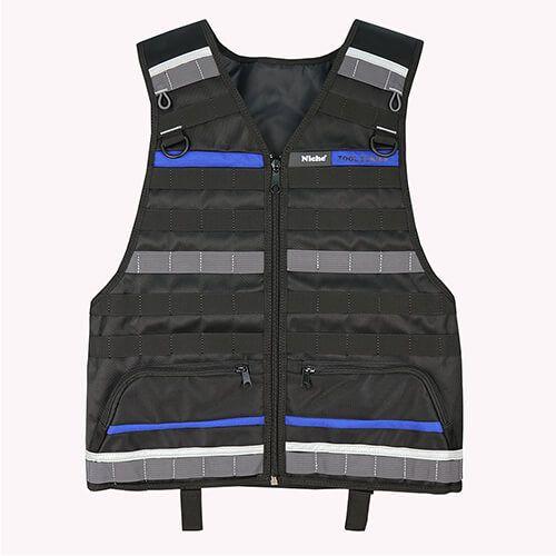 Жилет для инструментов инженера с тактической системой MOLLE для нескольких сумок для инструментов и поясом для инструментов. Застежка-молния и регулируемые плечи и талия