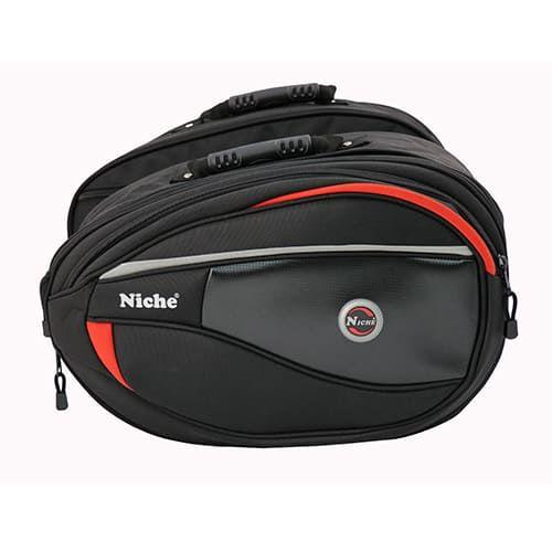Седельные сумки для мотоциклов с универсальной системой крепления, расширяемым и водонепроницаемым дождевиком в комплекте (размер L)