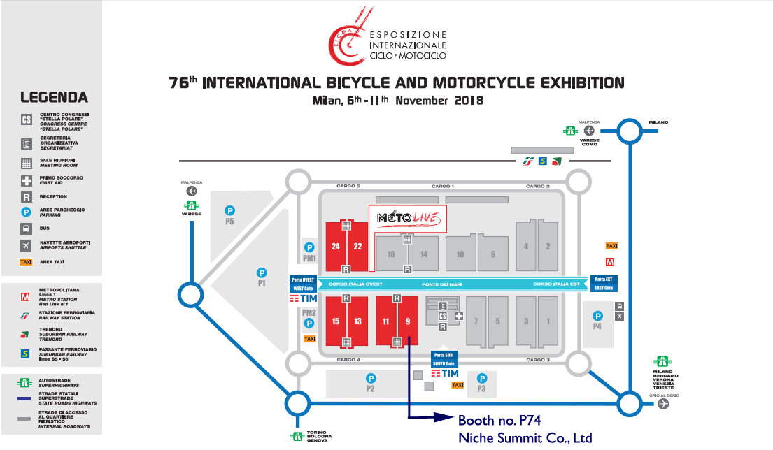Where Is Us - Site Map of EICMA 2018