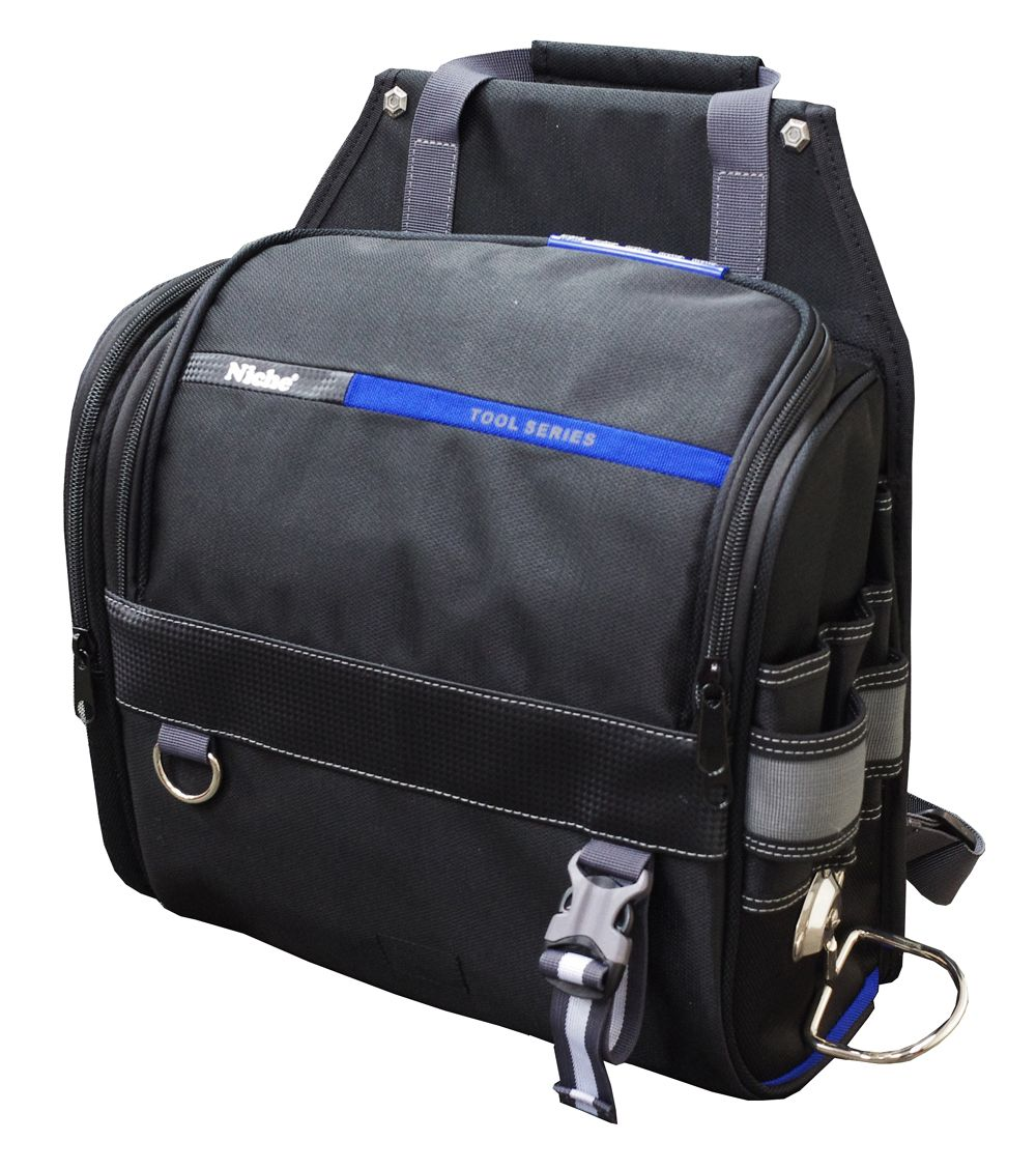 Big U Shape Zipper Closed Large Tool Bag with Hammer Holder, Ruler Deck and Multi-Compartments, Multiple Carry Ways