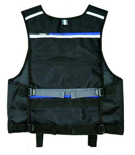 Zadní část vesty na nářadí se záchrannou rukojetí, nastavitelnými popruhy, popruhem Molle, reflexním pruhem.