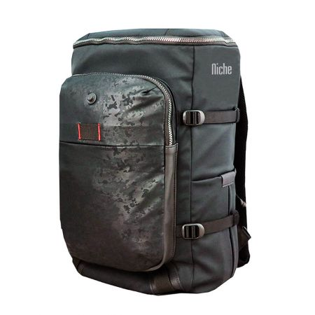 Full Open Top Backpack with Magnet Buckle for Laptop Sleeve and Mobile Pouch
