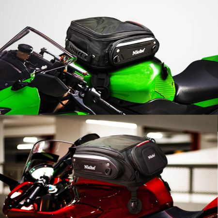 Strong Magnetic Tank bag, Universal fit for Motorcycle Street bike/Sport bike, Anti-scratch material base, top compartment for maps, GPS, iPad with touch screen.