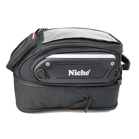 Expandable Motorcycle Tank bag from 15L to 24L, it can hold a Motorcycle full face helmet.