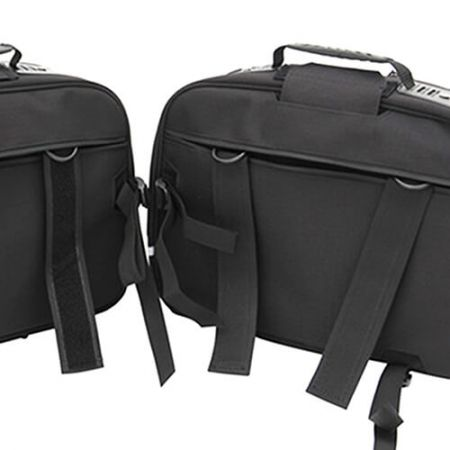 Briefcase and Suitcase Saddle bag, quickily and easily install onto your bike with Velcro straps. Velcro straps can be hidden on the back when you get to your destination.