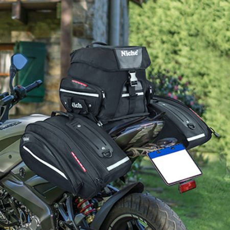 Motorcycle Waterproof Rear Seat bag for Sport bike and Street bike. The combined expandable back seat bag and Niche Pannier bag, perfect for long distance travelling.