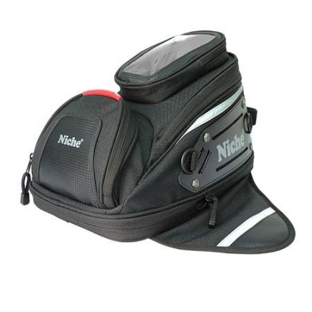Bolsa de depósito pequeña impermeable con 3 fuertes magnéticos universales para bicicleta de calle, bolsillo transparente en la parte superior de la bolsa de depósito Motorycle para teléfono inteligente o GPS.