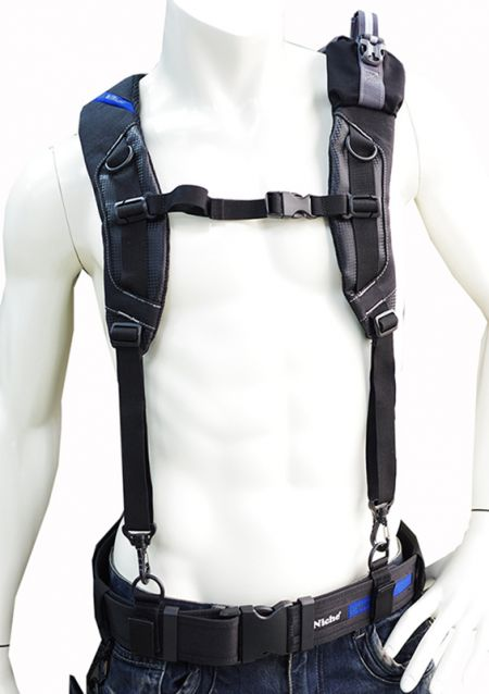 Suspenders for Tool Belt, Adjustable and Padded Shoulder Strap with Sternum Strap, Swing Hooks and D-Ring Belt Loop