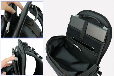 Backpack with interior built with magnetic buckle