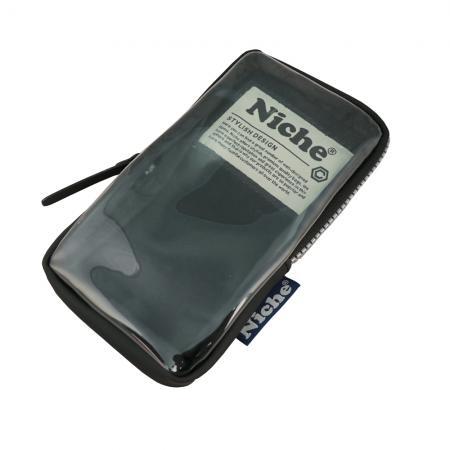 Kompakt mobilpose med gjennomsiktig panel