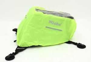 A 100% waterproof neon green raincover