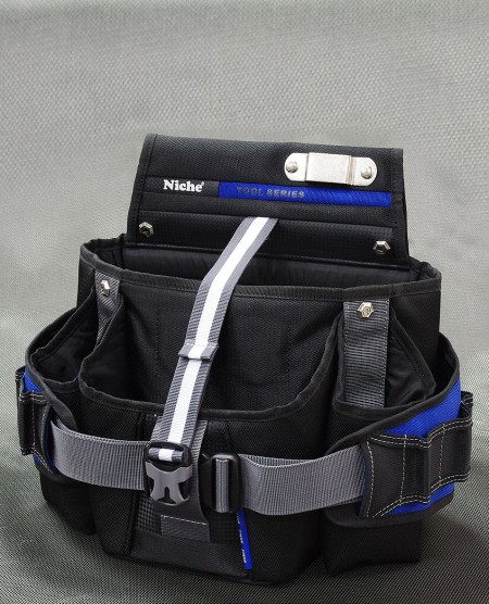 Bolsa de herramientas de doble capa abierta, convertible en riñonera, múltiples formas de transporte