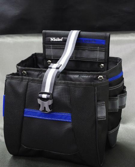Bolsa de herramientas grande abierta de doble capa con placa magnética, múltiples formas de transporte