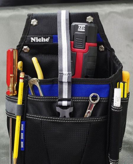 Manga de ranura del compartimento principal y frontal de gran capacidad para diferentes herramientas