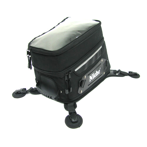 Niche motorcycle tank bag features large interios space and removable side boards