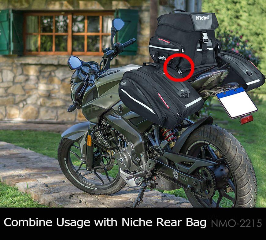 Uso combinato della borsa da sella con la borsa posteriore