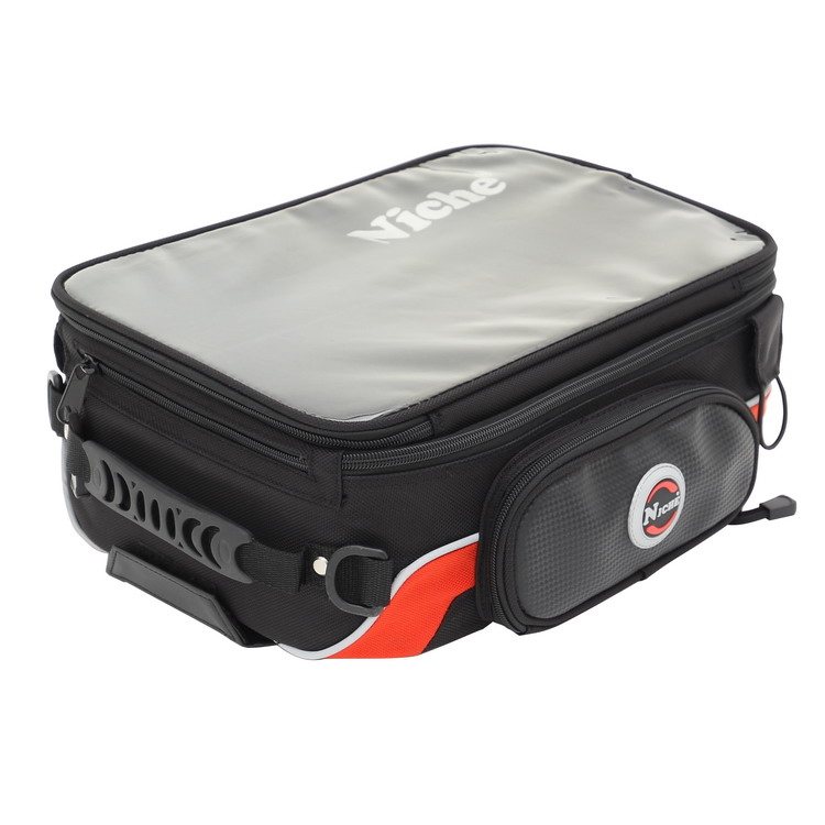 Niche motorcycle tank bag features rigid side walls and durability