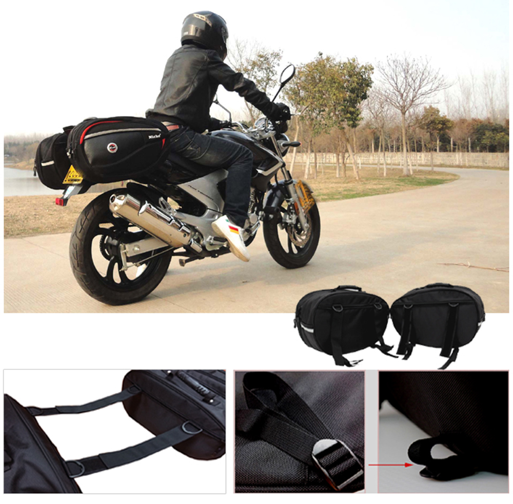 Panniers Universal Type NMO-2206 NICHE 2Pcs Black Motorcycle Saddlebags for Sports Bike and Street Bike Expandable and Waterproof Motorcycle Side Bag
