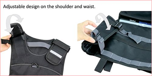 Adjustable on shoulders and waist area