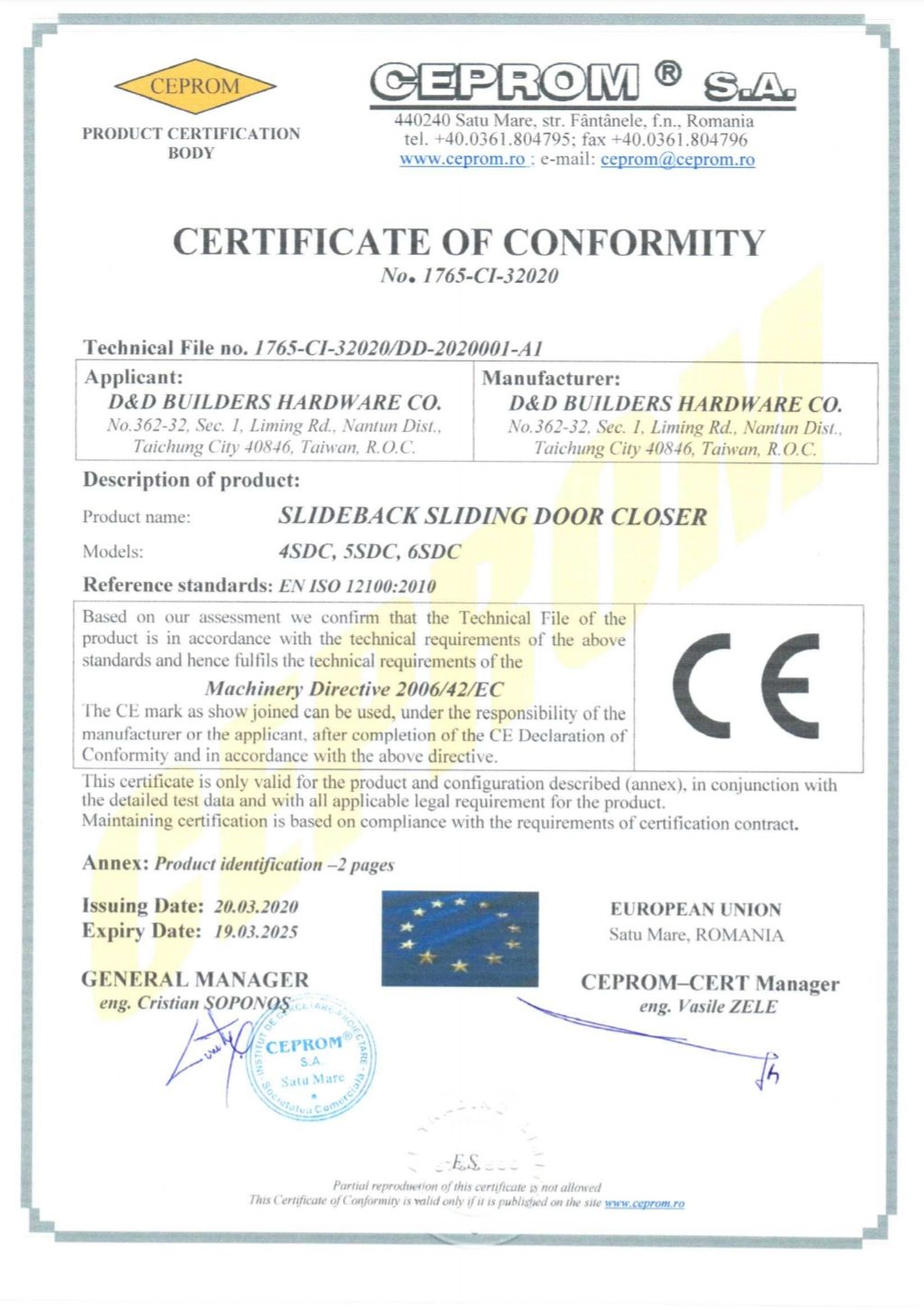 CE certified of SLIDEback sliding door closer - CE certificate of SLIDEback sliding door closer