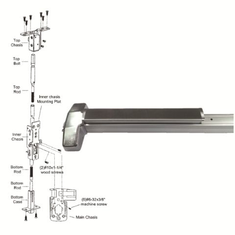 Concealed vertical rod exit device for WOOD door