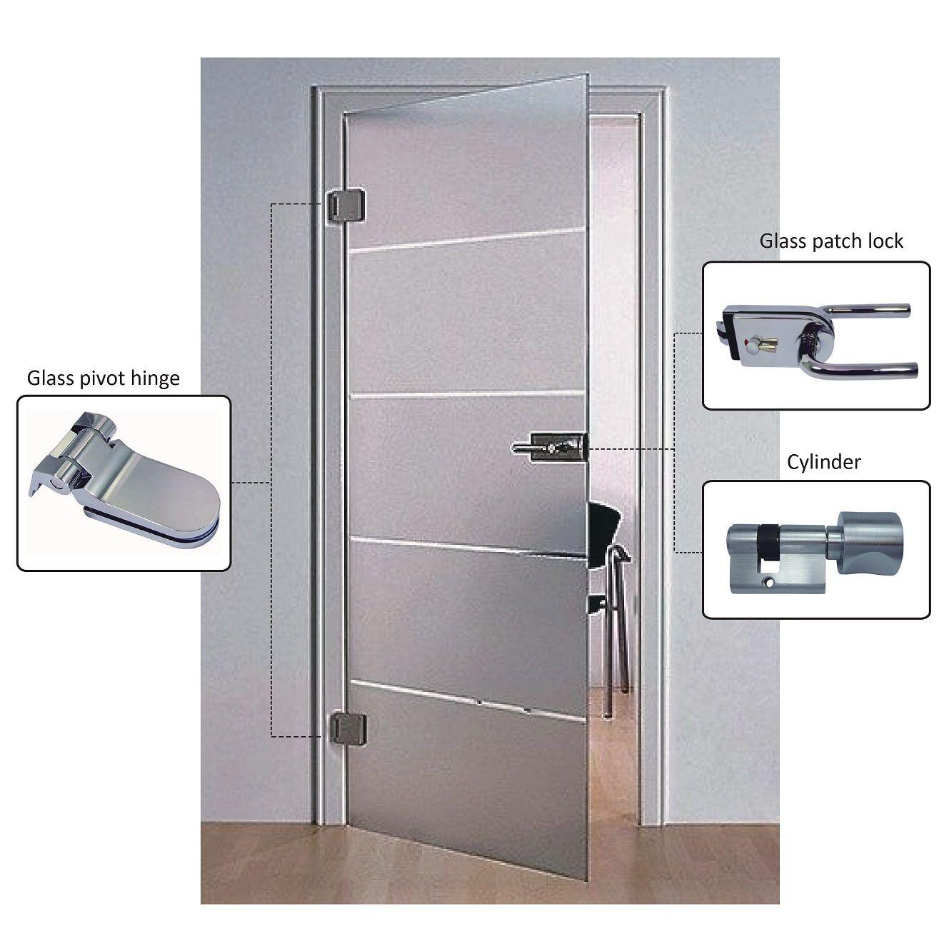 Porta de vidro articulada - Porta de vidro sem moldura