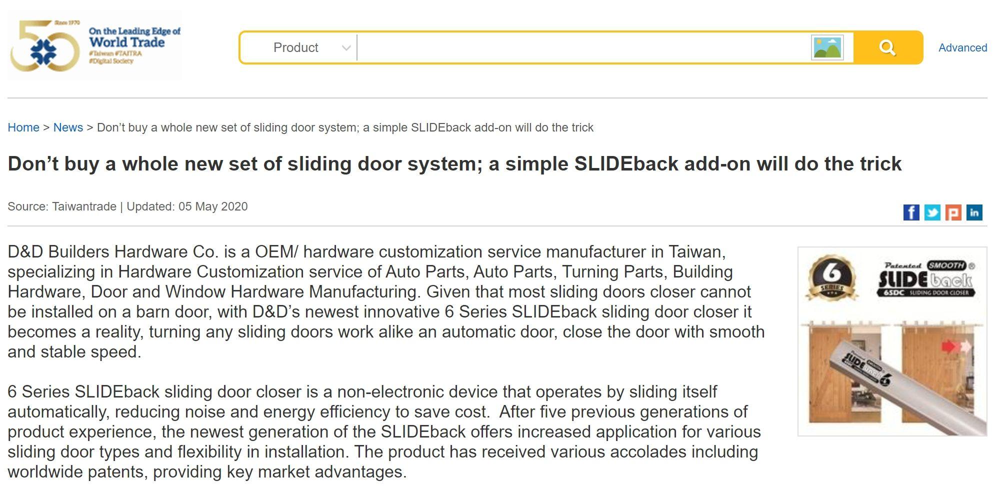 Notícias de nosso produto mais recente - 6 Series      SLIDEback porta deslizante mais perto no comércio de Taiwan - 6 séries      SLIDEback porta deslizante mais perto no comércio de Taiwan