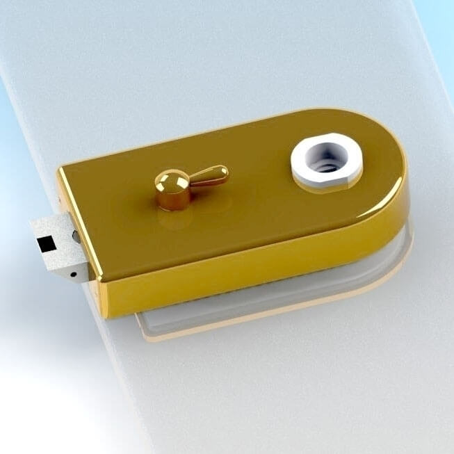 Glass Patch Lock with lever switch - Glass Door Lock with mechanical latch and lever switch, radius type