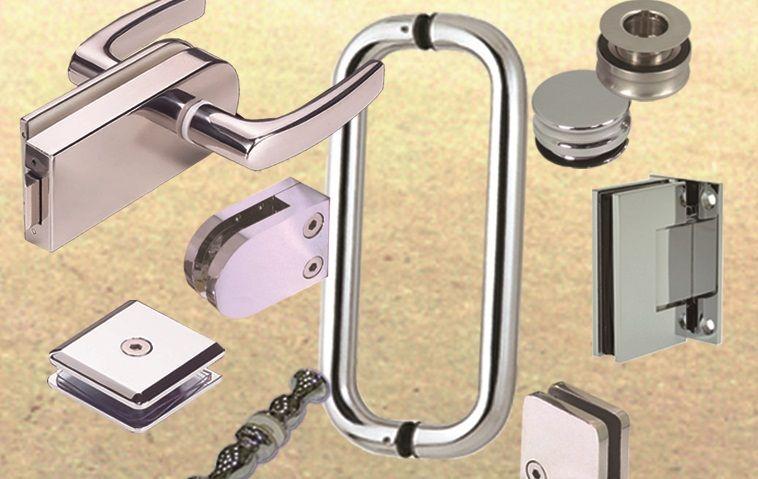 Hardware de vidro - Maçaneta da porta de vidro, braçadeira de vidro, dobradiça de vidro, maçaneta de vidro e conector de vidro