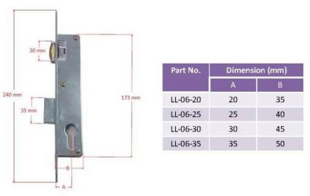 Dimensions of LL-06 mortise roller latch lock