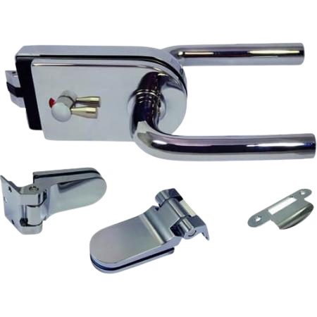 Glass Patch Lock set with mechanical latch - Glass Door Lock with mechanical latch and radius cover