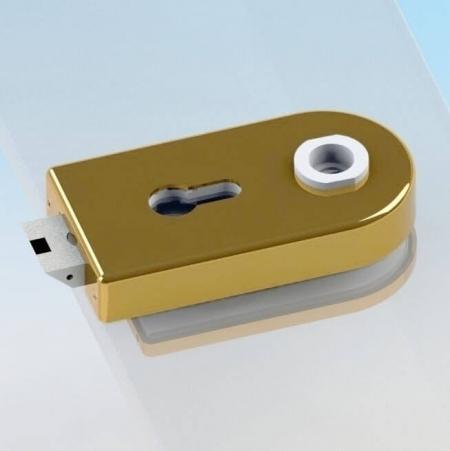 Glass Patch Lock, tipo cilindro euro - Fechadura de vidro com trava mecânica e tampa radial