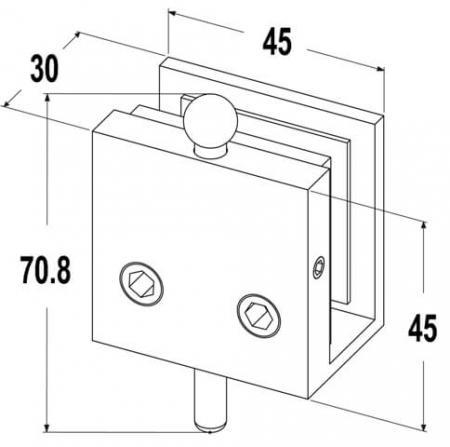 Dimension of bottom door bolt