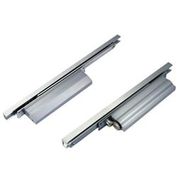 Cam action concealed door closer with slide channel - Cam action concealed door closer with slide channel