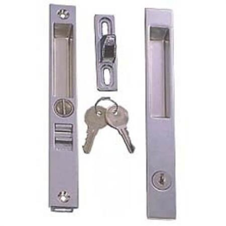 Maçaneta da porta deslizante nivelada - Conjunto de maçaneta de correr nivelada para o pátio, com fechadura com chave.