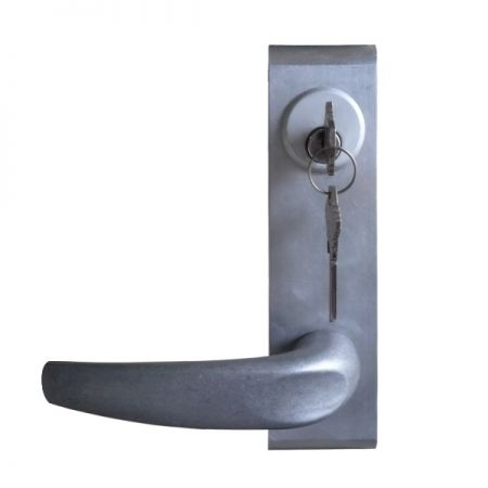 Lever Escutcheon out trim for ED-700PV, ED-910PV, ED-930PV series exit device with vertical rod - Key locks and unlocks escutcheon lever trim for vertical rod exit device