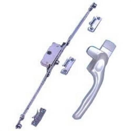 Conjunto de puxador de fechadura de janela uPVC Espagnolotte. - Espag UPVC Window Handle and Lock system.