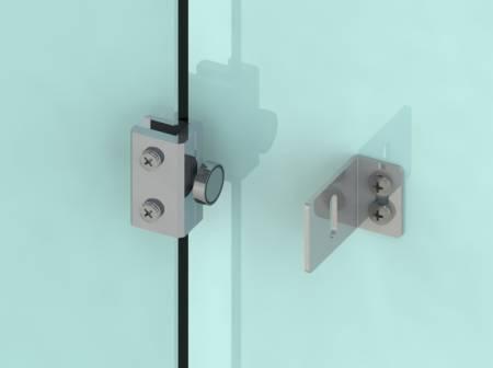 Hold-open mag bolt on frameless glass door