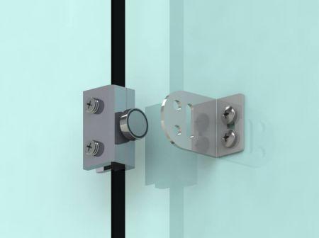 Segure o parafuso magnético na porta de vidro sem moldura