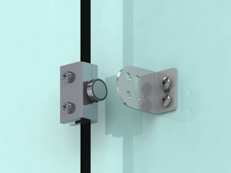 Hold-open mag bolt on frameless glass door