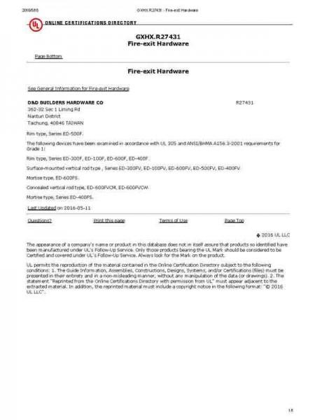 Certificado UL de dispositivos de saída com classificação de incêndio