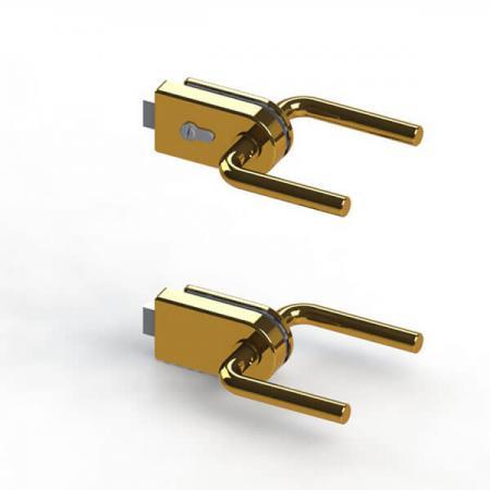Conjunto de bloqueio de remendo de vidro com trava magnética - Fechadura de vidro com trava magnética e tampa de raio