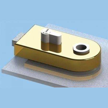 Glass Patch Lock with megnetic latch, Euro cylinder type - Glass Door Lock with magnetic latch and radius cover