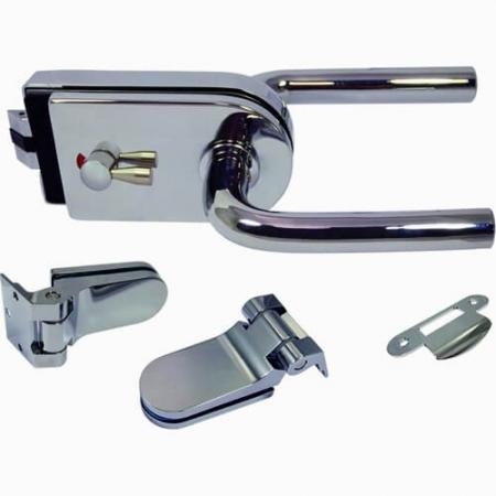 Glass Patch Lock set with mechanical latch