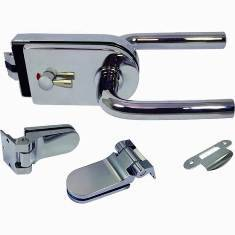 Conjunto de trava de vidro com trava mecânica para porta interna